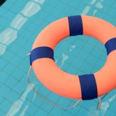 a life preserver floating in the pool